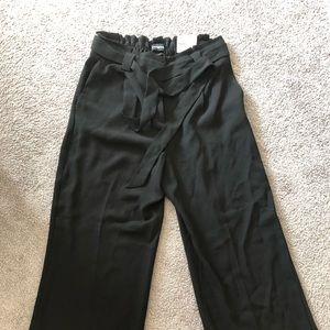 Black Express paper bag high waist dress pants